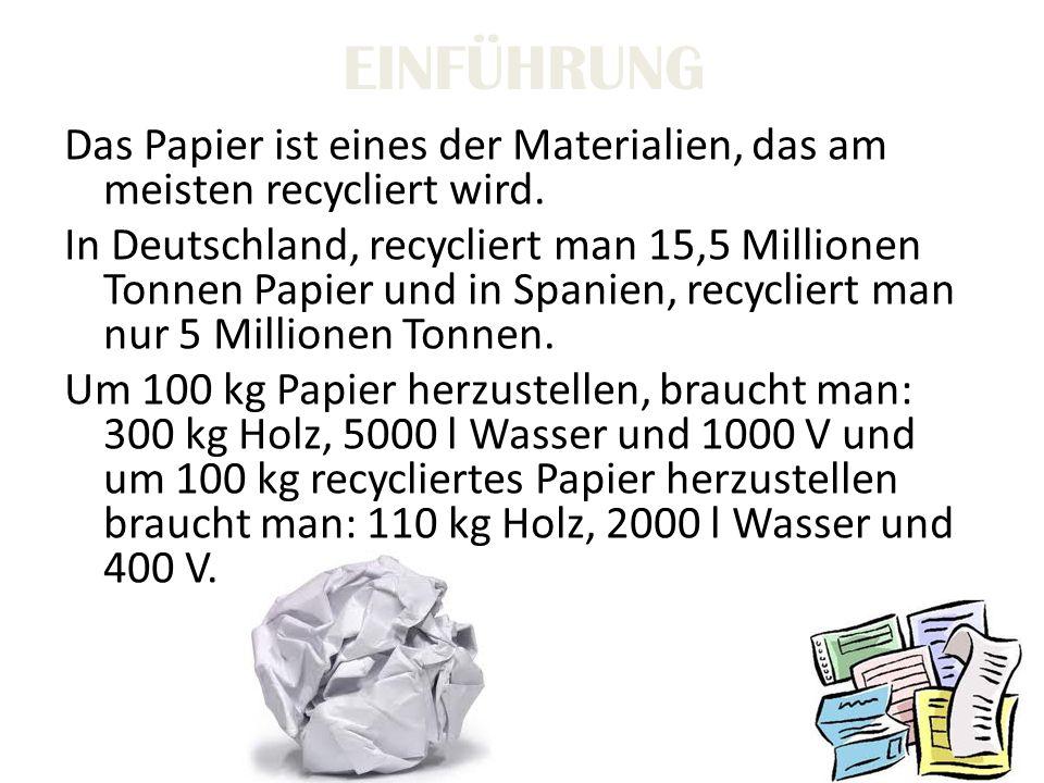 EINFÜHRUNG Das Papier ist eines der Materialien, das am meisten recycliert wird. In Deutschland, recycliert man 15,5 Millionen Tonnen Papier und in Sp