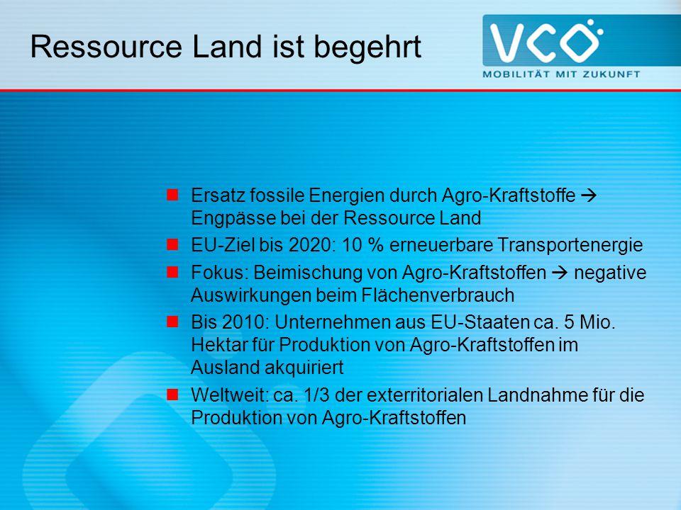Ressource Land ist begehrt Ersatz fossile Energien durch Agro-Kraftstoffe  Engpässe bei der Ressource Land EU-Ziel bis 2020: 10 % erneuerbare Transportenergie Fokus: Beimischung von Agro-Kraftstoffen  negative Auswirkungen beim Flächenverbrauch Bis 2010: Unternehmen aus EU-Staaten ca.