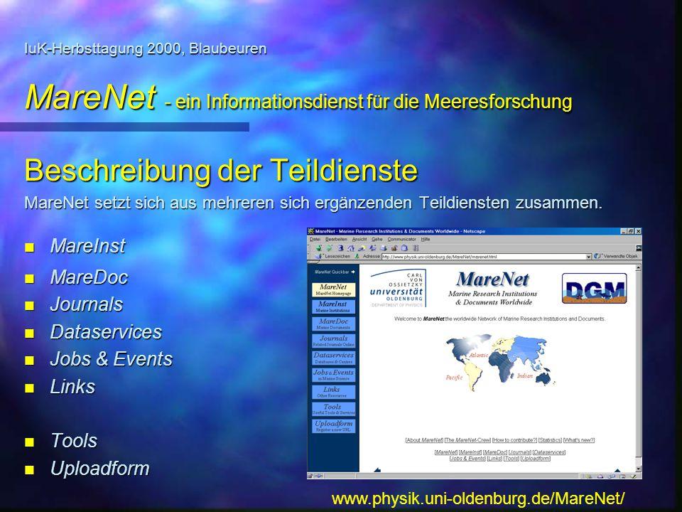 Beschreibung der Teildienste MareNet setzt sich aus mehreren sich ergänzenden Teildiensten zusammen. n MareInst n MareDoc n Journals n Dataservices n