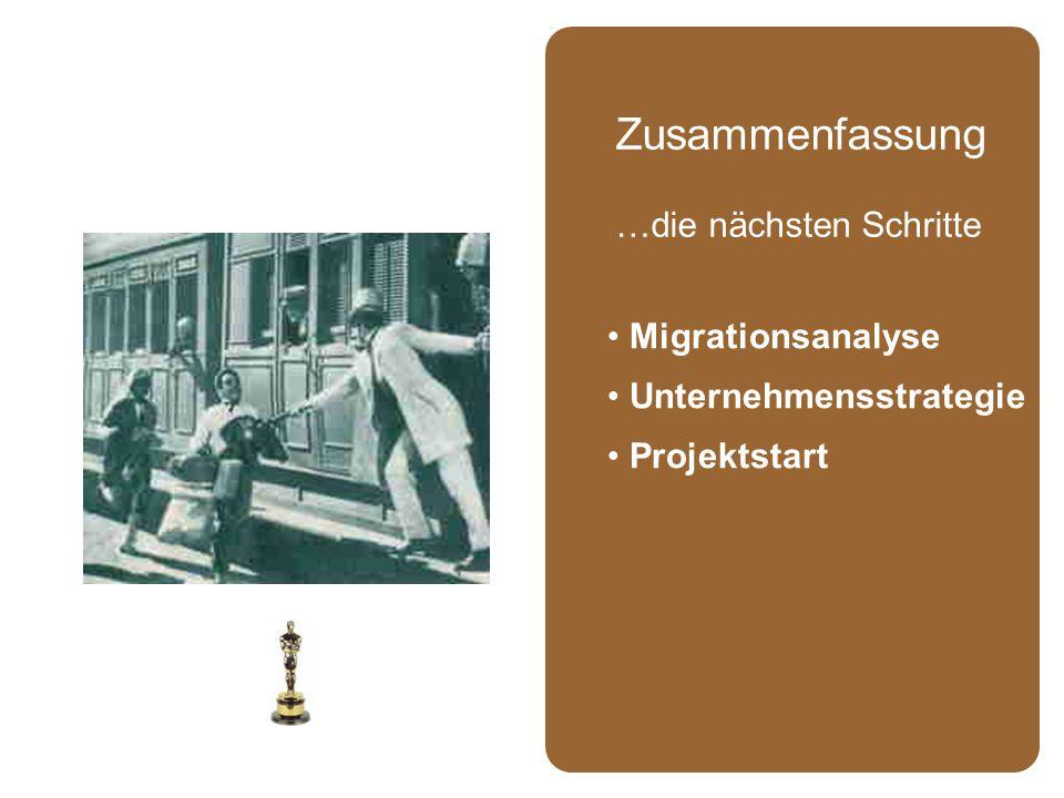 Migrationsanalyse Unternehmensstrategie Projektstart Zusammenfassung …die nächsten Schritte