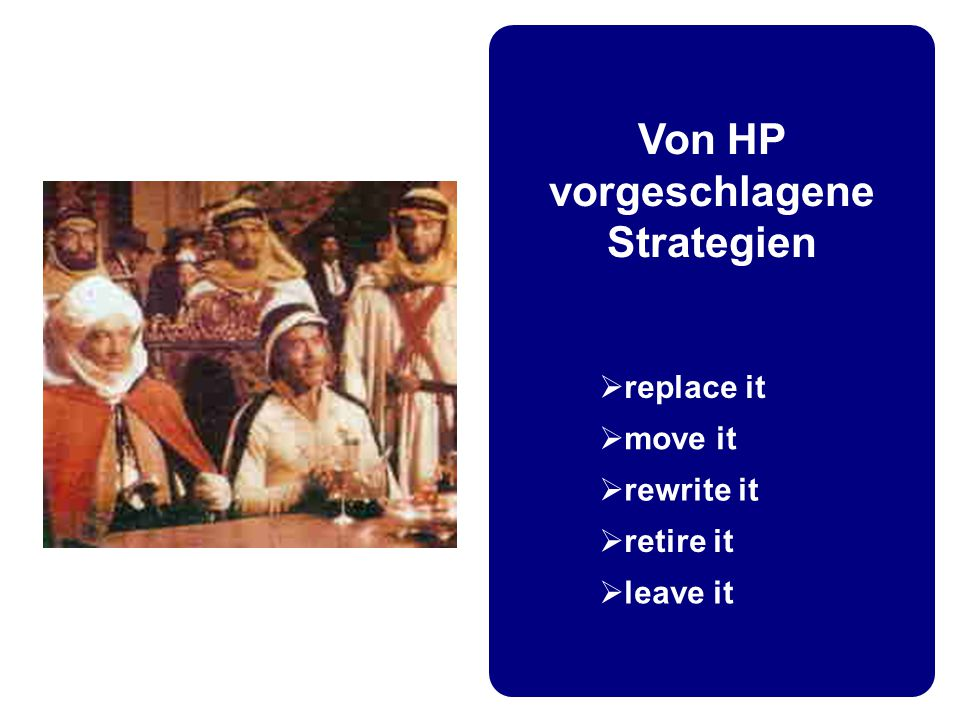 Von HP vorgeschlagene Strategien  replace it  move it  rewrite it  retire it  leave it