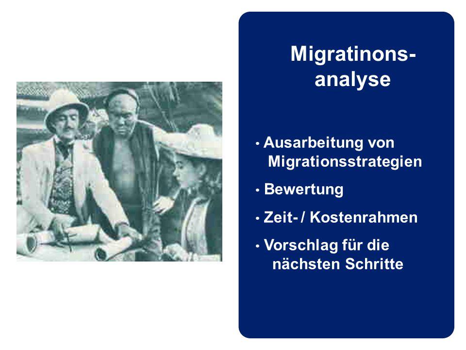 Migratinons- analyse Ausarbeitung von Migrationsstrategien Bewertung Zeit- / Kostenrahmen Vorschlag für die nächsten Schritte