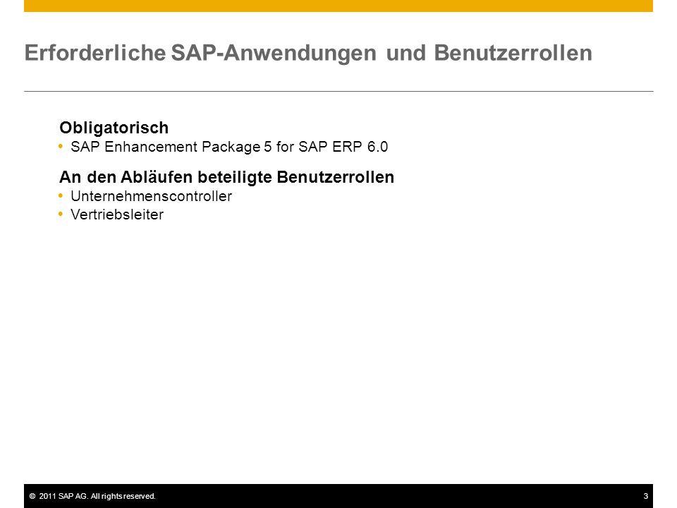 ©2011 SAP AG. All rights reserved.3 Erforderliche SAP-Anwendungen und Benutzerrollen Obligatorisch  SAP Enhancement Package 5 for SAP ERP 6.0 An den