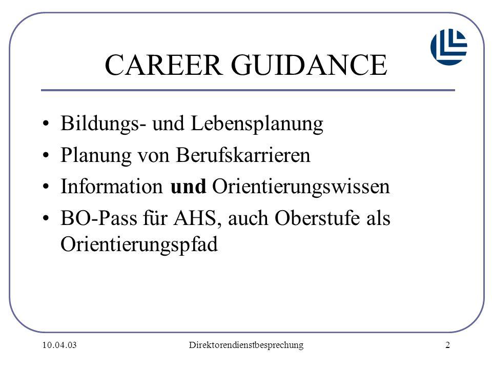 10.04.03Direktorendienstbesprechung2 CAREER GUIDANCE Bildungs- und Lebensplanung Planung von Berufskarrieren Information und Orientierungswissen BO-Pass für AHS, auch Oberstufe als Orientierungspfad