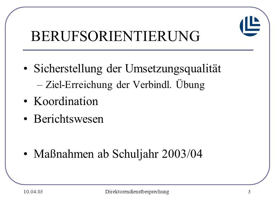 10.04.03Direktorendienstbesprechung4 Qualitätsindikatoren Optimierung der BO-Fortbildung nachvollziehbare Koordination ausreichende Realbegegnungen Lehrplanorientierung Miteinbeziehung der Eltern
