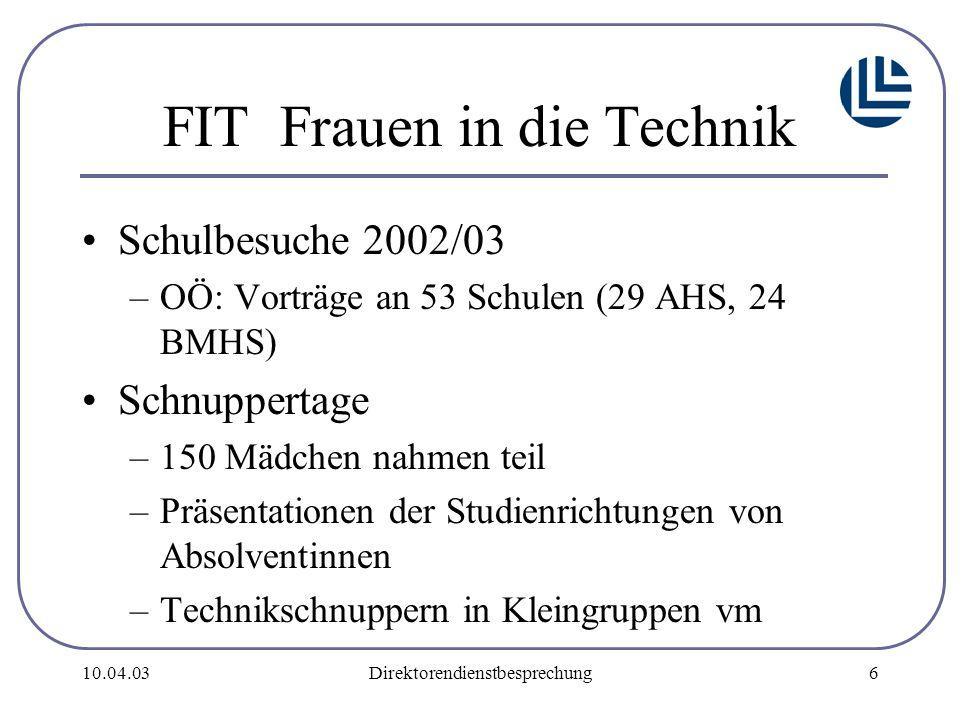 10.04.03Direktorendienstbesprechung7 Auswertung: –3/4 Teilnahme durch Info/Vorträge –Berufsberatung an Schule über techn./naturwissenschaftl.