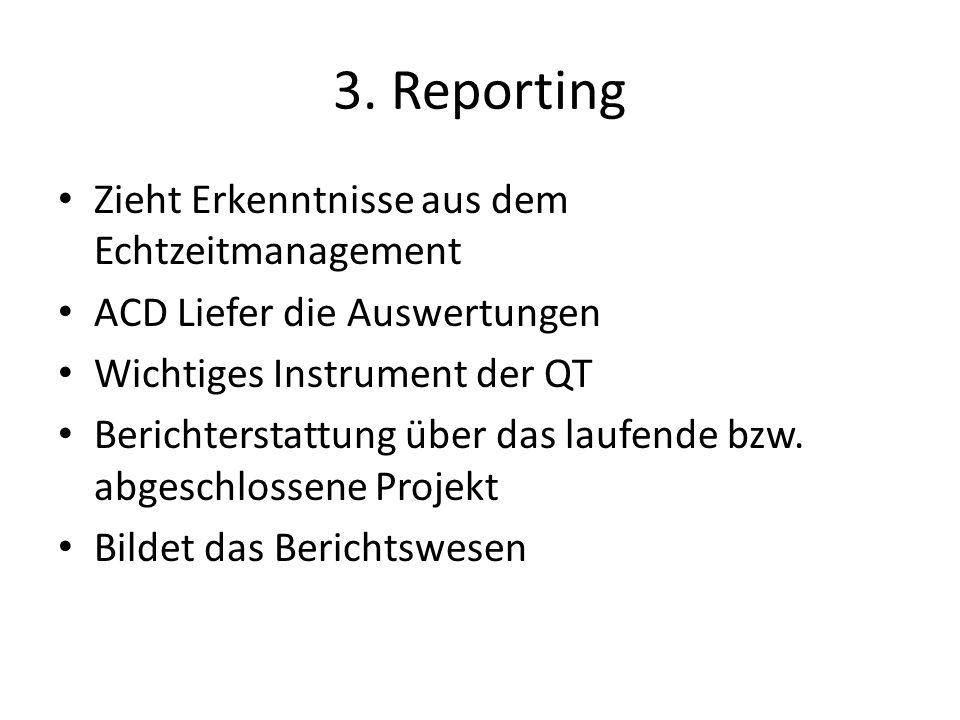 3. Reporting Zieht Erkenntnisse aus dem Echtzeitmanagement ACD Liefer die Auswertungen Wichtiges Instrument der QT Berichterstattung über das laufende