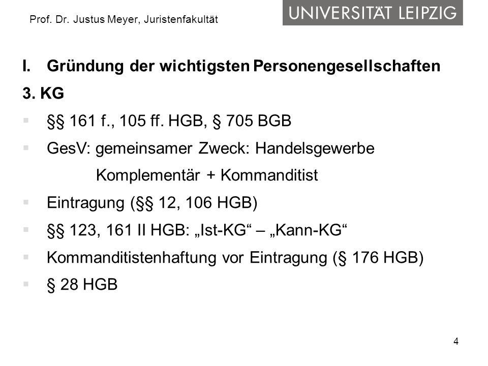 4 Prof. Dr. Justus Meyer, Juristenfakultät I.Gründung der wichtigsten Personengesellschaften 3. KG  §§ 161 f., 105 ff. HGB, § 705 BGB  GesV: gemeins