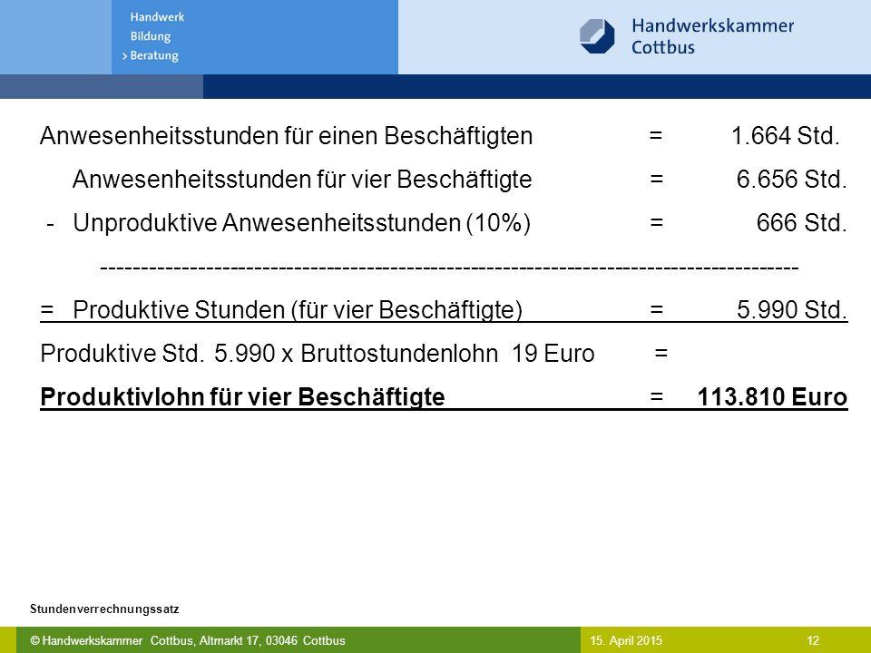 © Handwerkskammer Cottbus, Altmarkt 17, 03046 Cottbus 12 Stundenverrechnungssatz 15. April 2015 Anwesenheitsstunden für einen Beschäftigten = 1.664 St