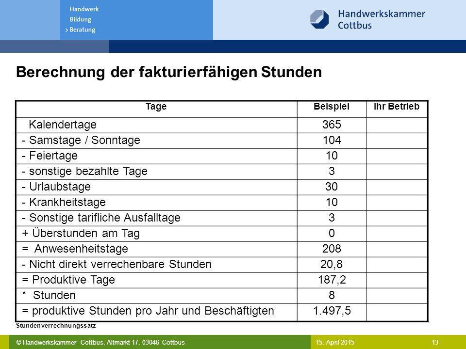 © Handwerkskammer Cottbus, Altmarkt 17, 03046 Cottbus 13 Stundenverrechnungssatz 15. April 2015 Berechnung der fakturierfähigen Stunden TageBeispielIh