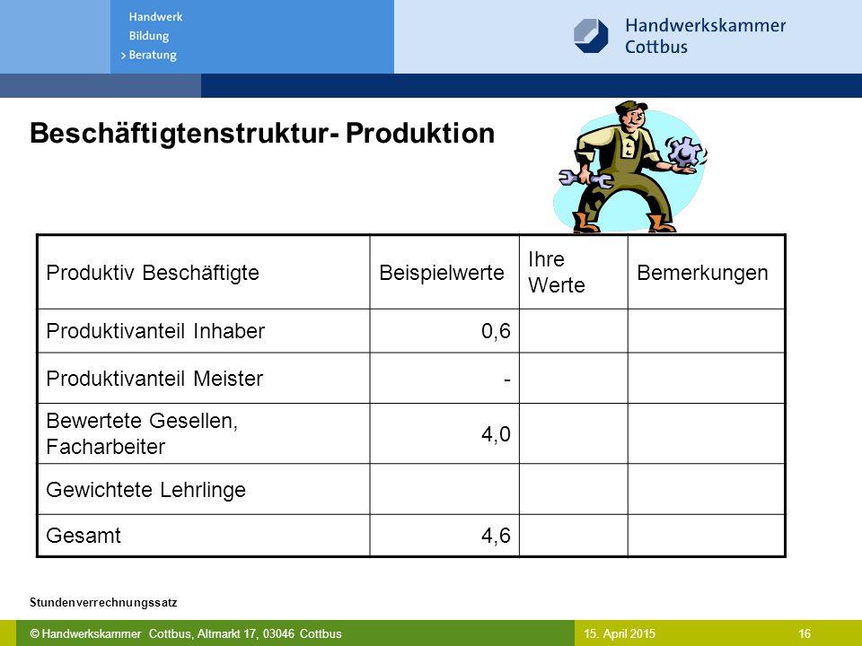 © Handwerkskammer Cottbus, Altmarkt 17, 03046 Cottbus 16 Stundenverrechnungssatz 15. April 2015 Beschäftigtenstruktur- Produktion Produktiv Beschäftig