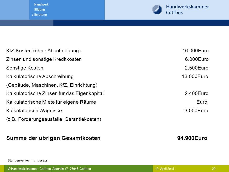 © Handwerkskammer Cottbus, Altmarkt 17, 03046 Cottbus 20 Stundenverrechnungssatz 15. April 2015 KfZ-Kosten (ohne Abschreibung) 16.000Euro Zinsen und s