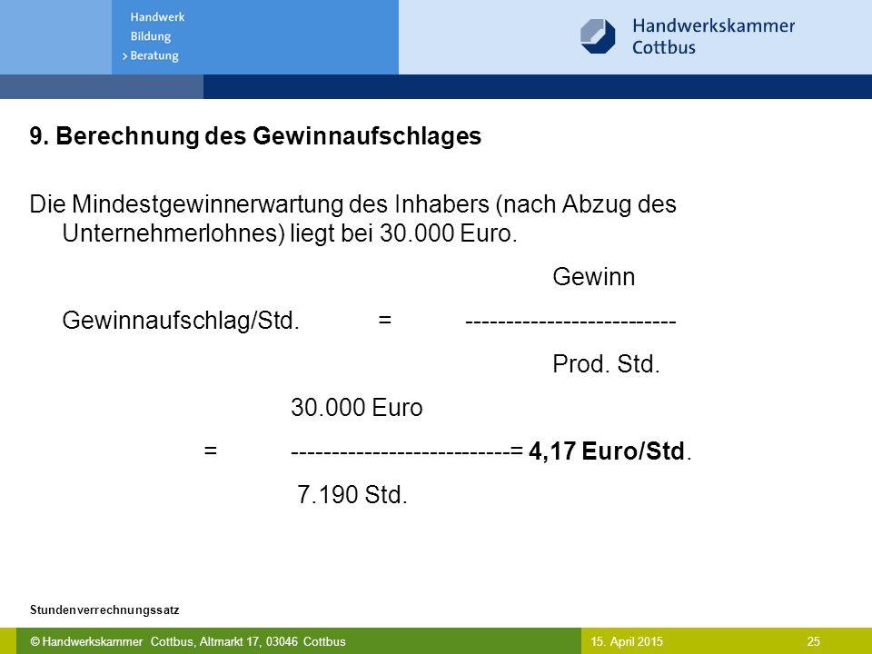 © Handwerkskammer Cottbus, Altmarkt 17, 03046 Cottbus 25 Stundenverrechnungssatz 15. April 2015 9. Berechnung des Gewinnaufschlages Die Mindestgewinne