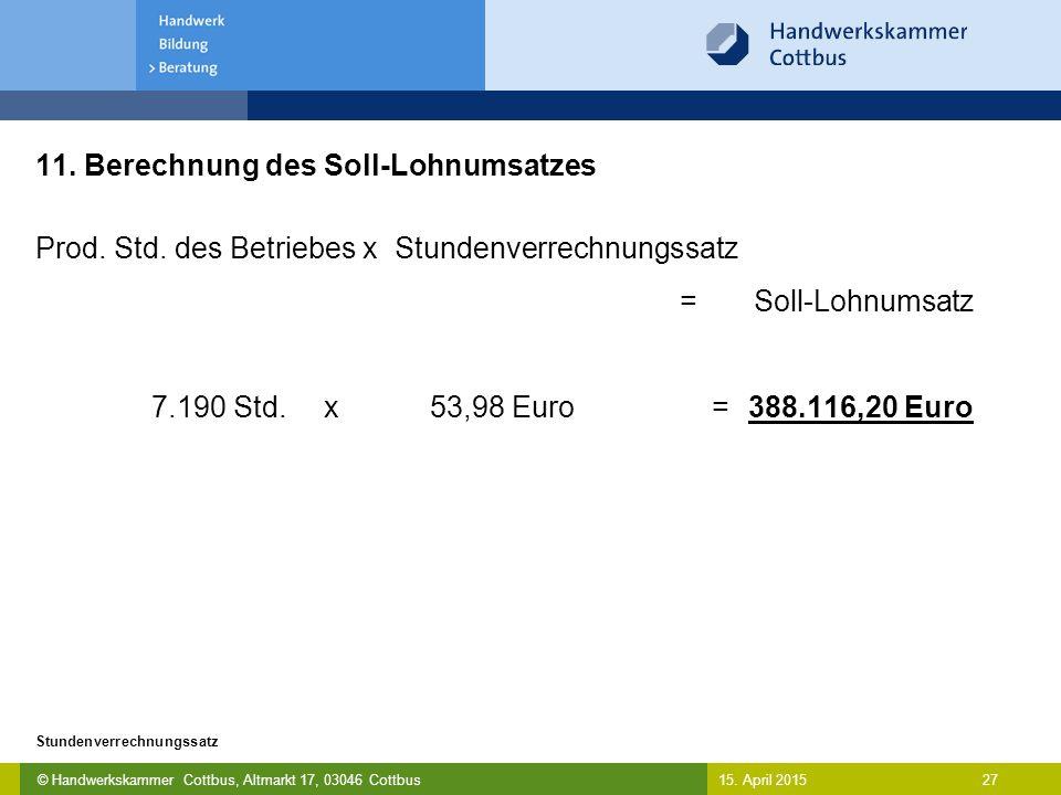 © Handwerkskammer Cottbus, Altmarkt 17, 03046 Cottbus 27 Stundenverrechnungssatz 15. April 2015 11. Berechnung des Soll-Lohnumsatzes Prod. Std. des Be