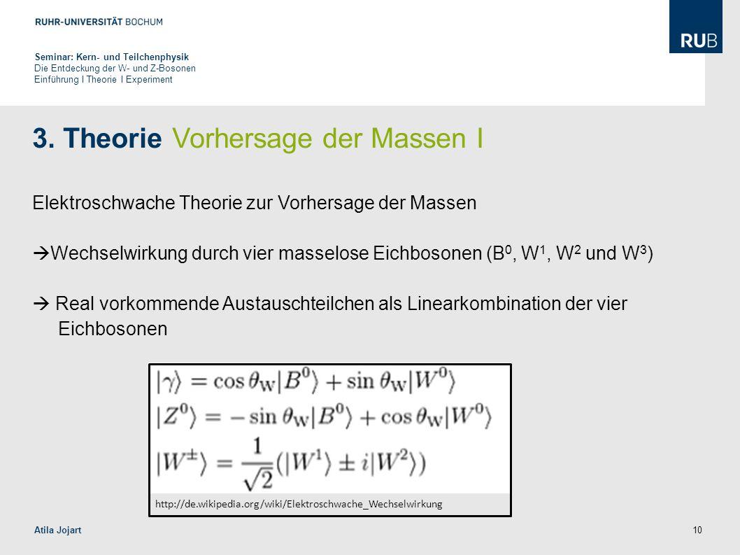 10 3. Theorie Vorhersage der Massen I Elektroschwache Theorie zur Vorhersage der Massen  Wechselwirkung durch vier masselose Eichbosonen (B 0, W 1, W