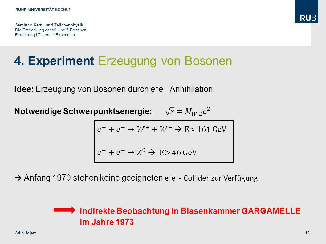 12 4. Experiment Erzeugung von Bosonen Idee: Erzeugung von Bosonen durch e + e - -Annihilation Notwendige Schwerpunktsenergie:  Anfang 1970 stehen ke