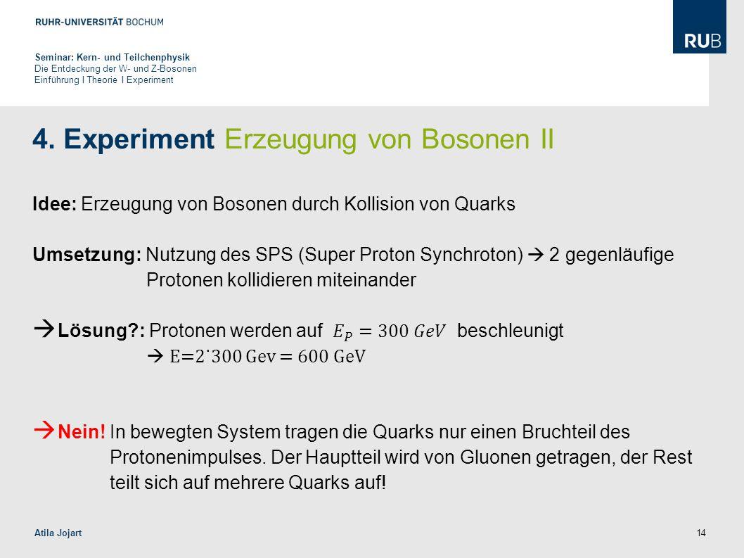 14 4. Experiment Erzeugung von Bosonen II Idee: Erzeugung von Bosonen durch Kollision von Quarks Umsetzung: Nutzung des SPS (Super Proton Synchroton)