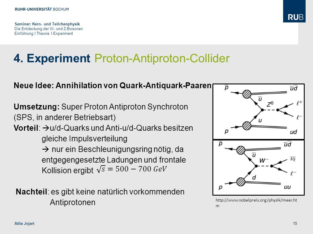 15 4. Experiment Proton-Antiproton-Collider Neue Idee: Annihilation von Quark-Antiquark-Paaren Umsetzung: Super Proton Antiproton Synchroton (SPS, in