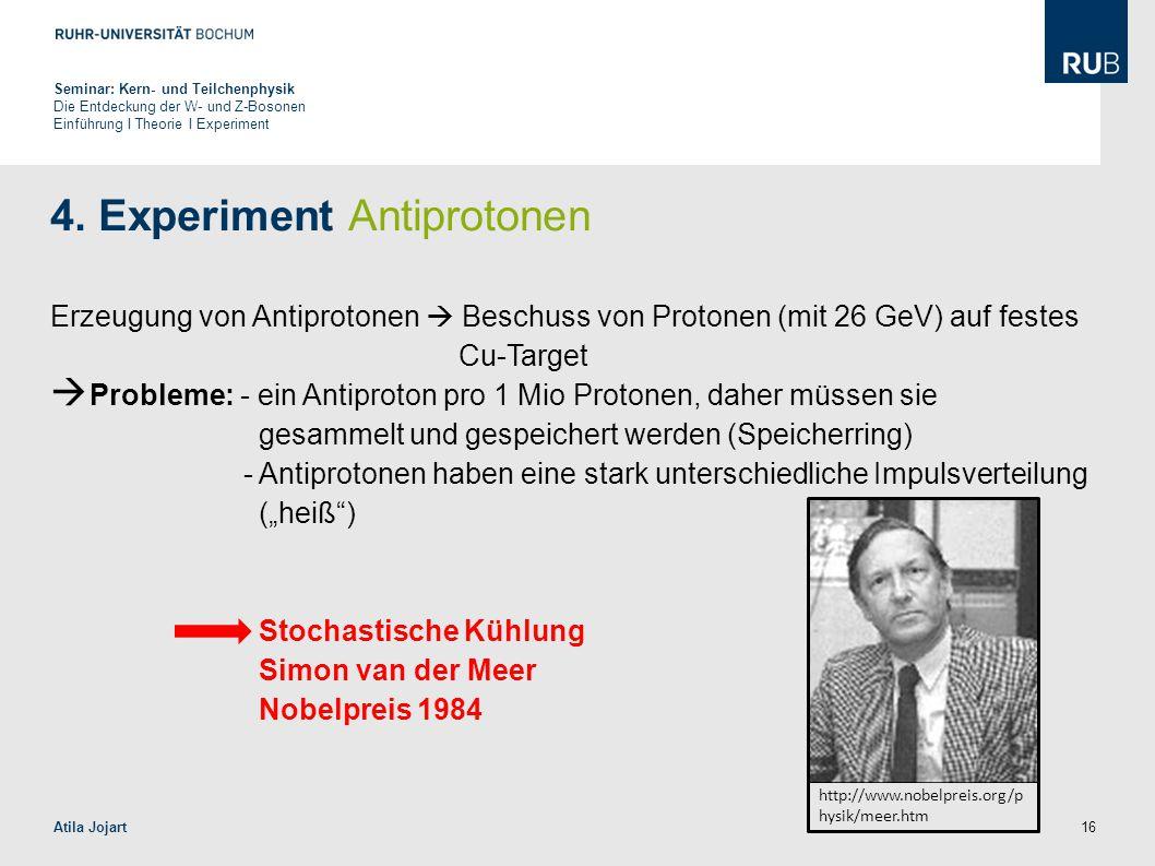 16 4. Experiment Antiprotonen Erzeugung von Antiprotonen  Beschuss von Protonen (mit 26 GeV) auf festes Cu-Target  Probleme: - ein Antiproton pro 1