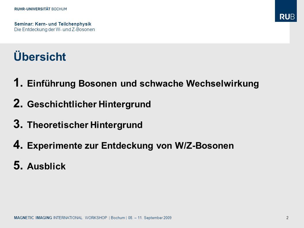 2 Übersicht MAGNETIC IMAGING INTERNATIONAL WORKSHOP | Bochum | 08. – 11. September 2009 1. Einführung Bosonen und schwache Wechselwirkung 2. Geschicht