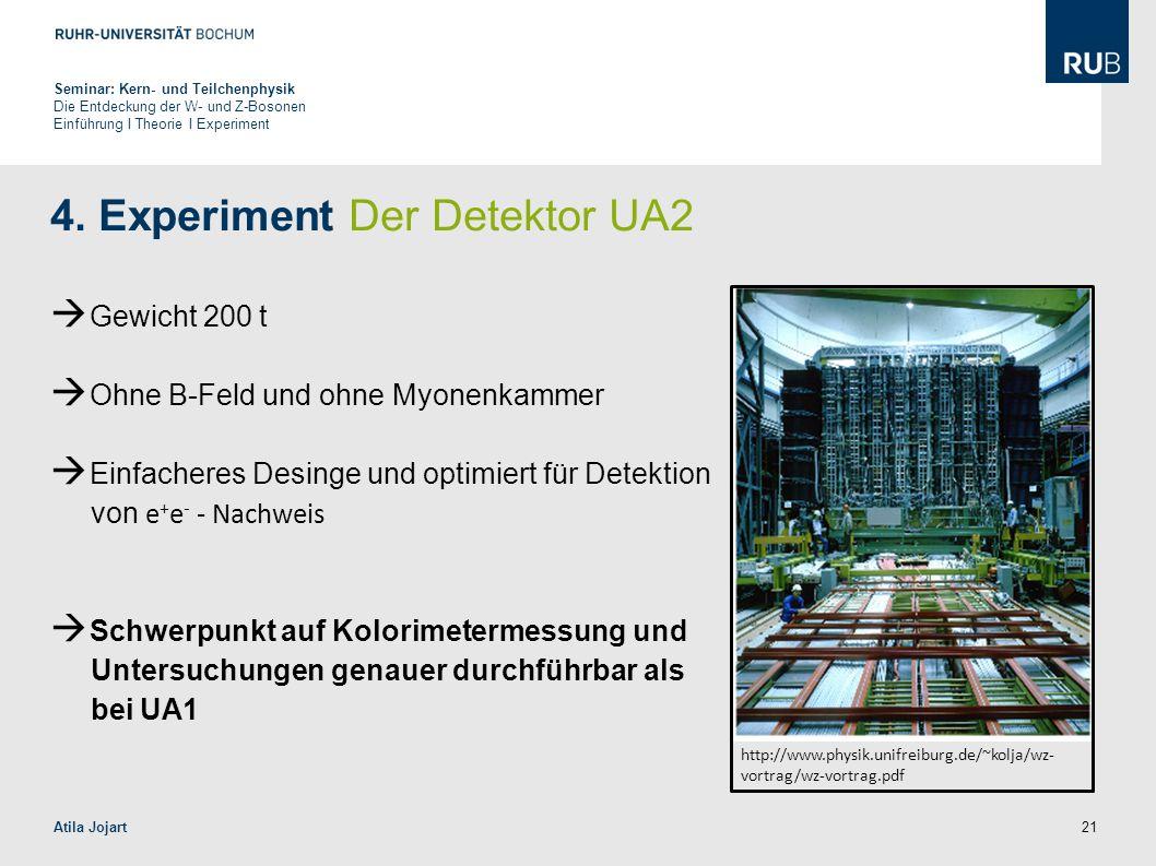 21 4. Experiment Der Detektor UA2  Gewicht 200 t  Ohne B-Feld und ohne Myonenkammer  Einfacheres Desinge und optimiert für Detektion von e + e - -