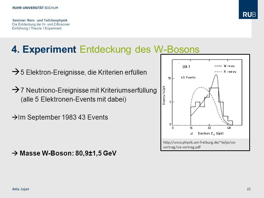 23 4. Experiment Entdeckung des W-Bosons  5 Elektron-Ereignisse, die Kriterien erfüllen  7 Neutriono-Ereignisse mit Kriteriumserfüllung (alle 5 Elek