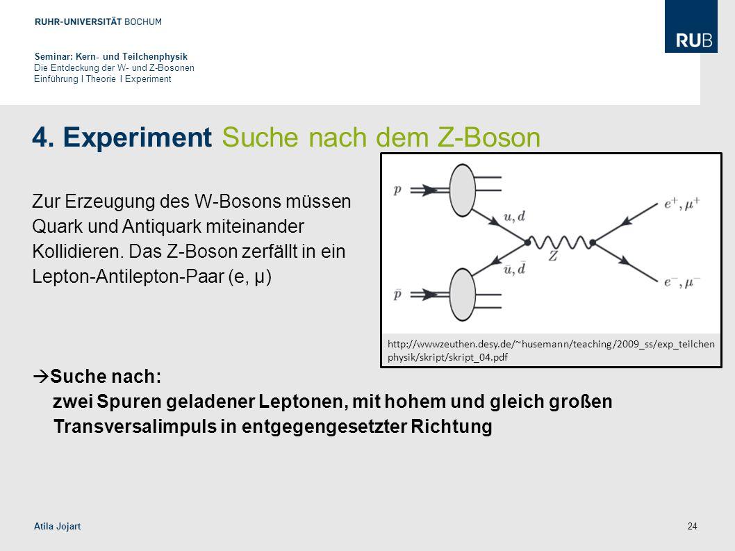 24 4. Experiment Suche nach dem Z-Boson Zur Erzeugung des W-Bosons müssen Quark und Antiquark miteinander Kollidieren. Das Z-Boson zerfällt in ein Lep