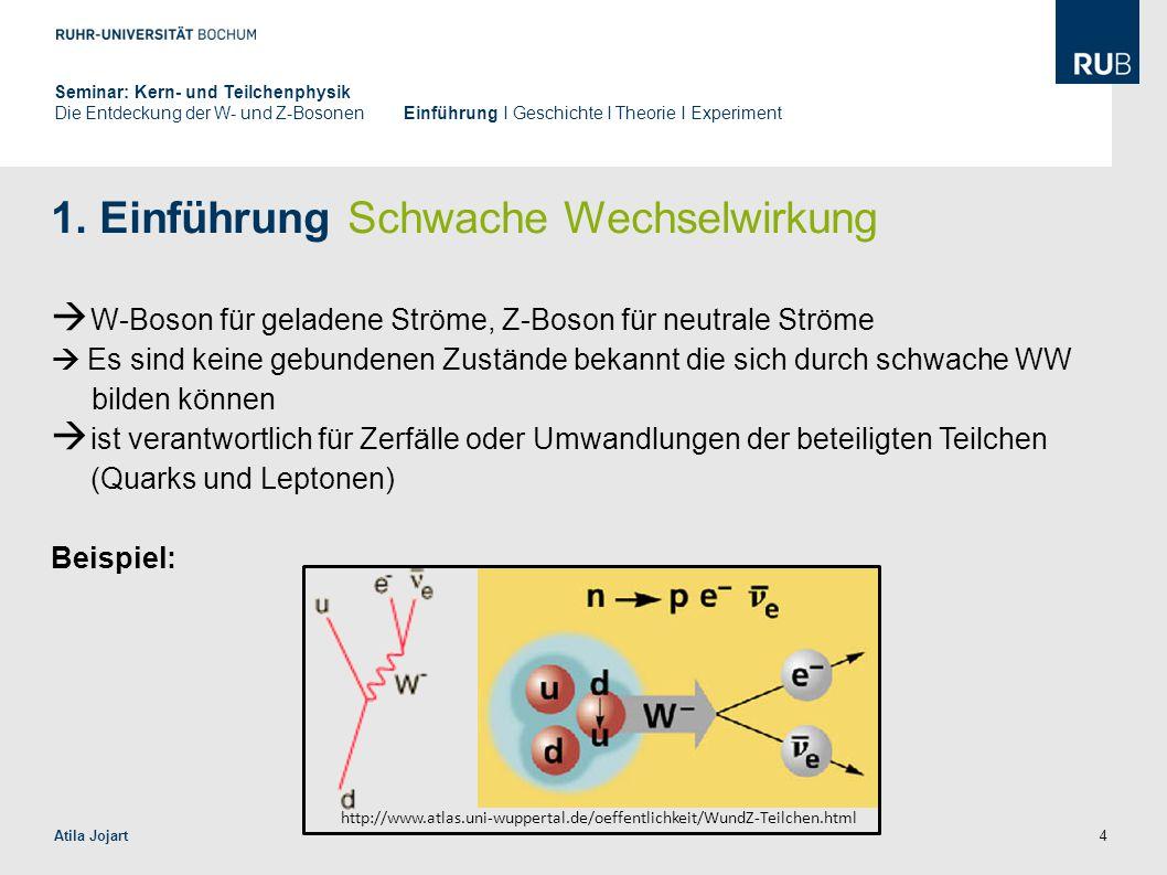 4 1. Einführung Schwache Wechselwirkung  W-Boson für geladene Ströme, Z-Boson für neutrale Ströme  Es sind keine gebundenen Zustände bekannt die sic