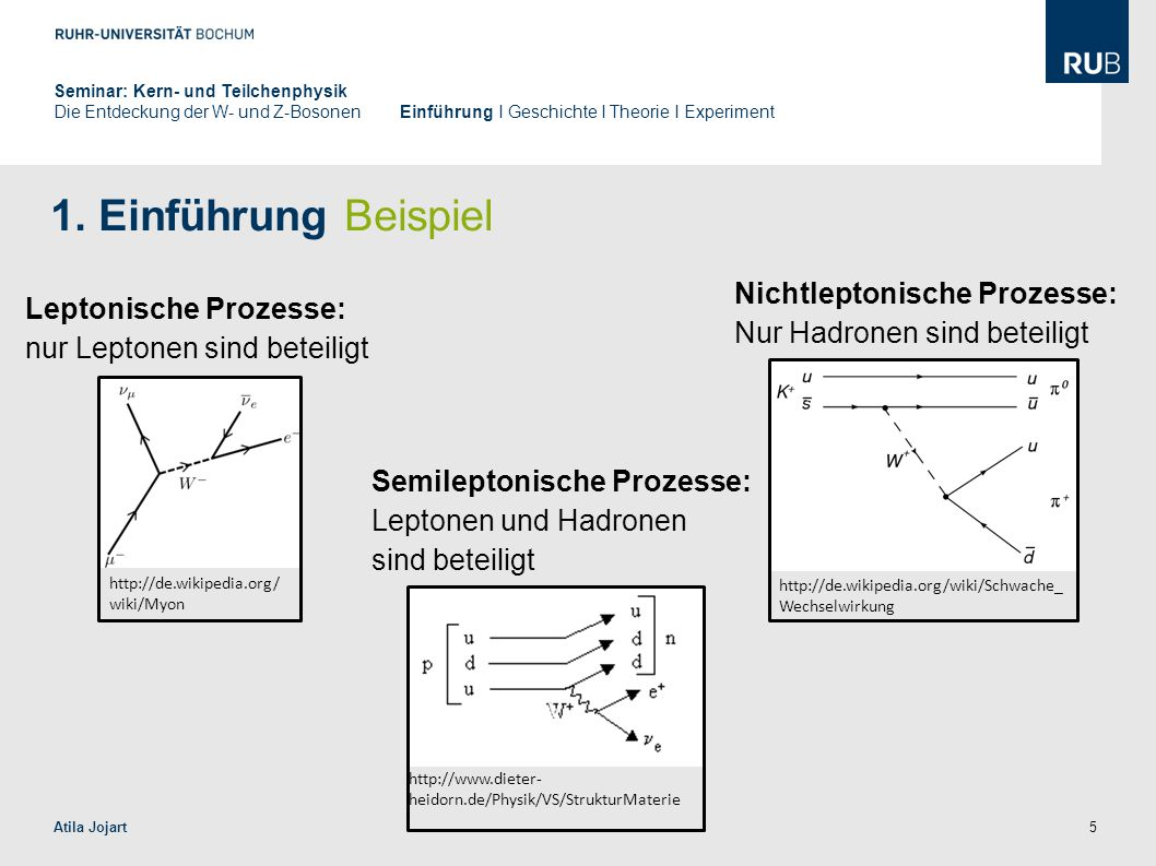 5 1. Einführung Beispiel Atila Jojart Leptonische Prozesse: nur Leptonen sind beteiligt http://de.wikipedia.org/ wiki/Myon Semileptonische Prozesse: L