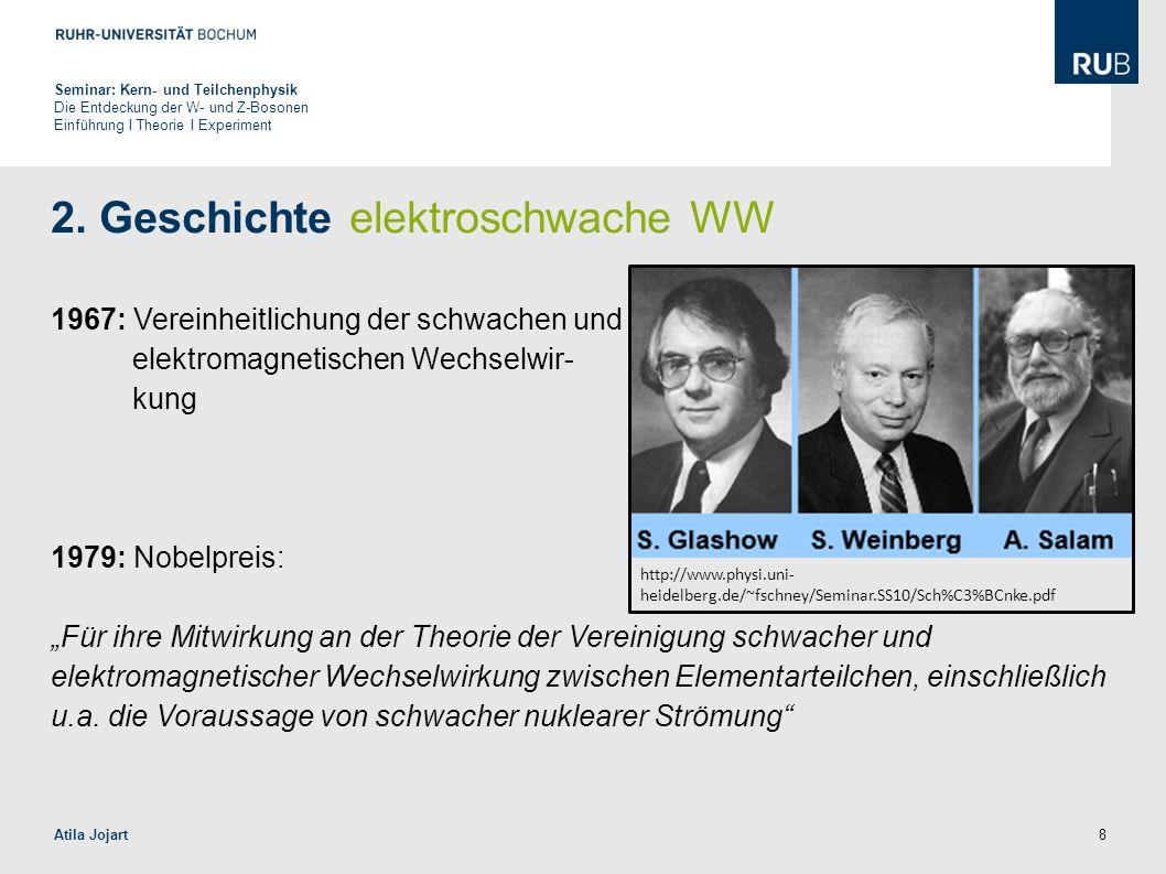 """8 2. Geschichte elektroschwache WW 1967: Vereinheitlichung der schwachen und elektromagnetischen Wechselwir- kung 1979: Nobelpreis: """"Für ihre Mitwirku"""