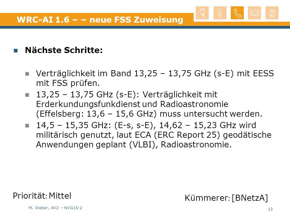 M. Weber, AK2 – NVG15-2 WRC-AI 1.6 – – neue FSS Zuweisung Nächste Schritte: Verträglichkeit im Band 13,25 – 13,75 GHz (s-E) mit EESS mit FSS prüfen. 1