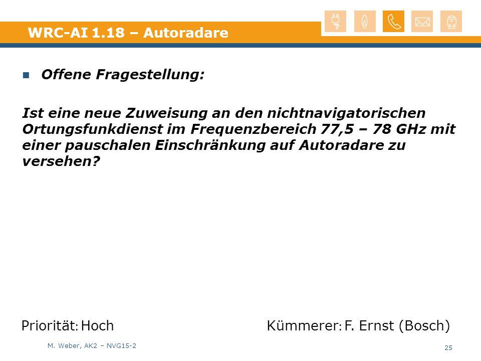 M. Weber, AK2 – NVG15-2 WRC-AI 1.18 – Autoradare Offene Fragestellung: Ist eine neue Zuweisung an den nichtnavigatorischen Ortungsfunkdienst im Freque