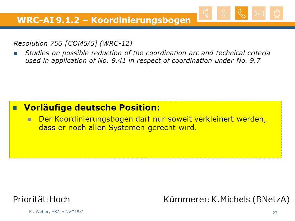 M. Weber, AK2 – NVG15-2 WRC-AI 9.1.2 – Koordinierungsbogen Resolution 756 [COM5/5] (WRC-12) Studies on possible reduction of the coordination arc and