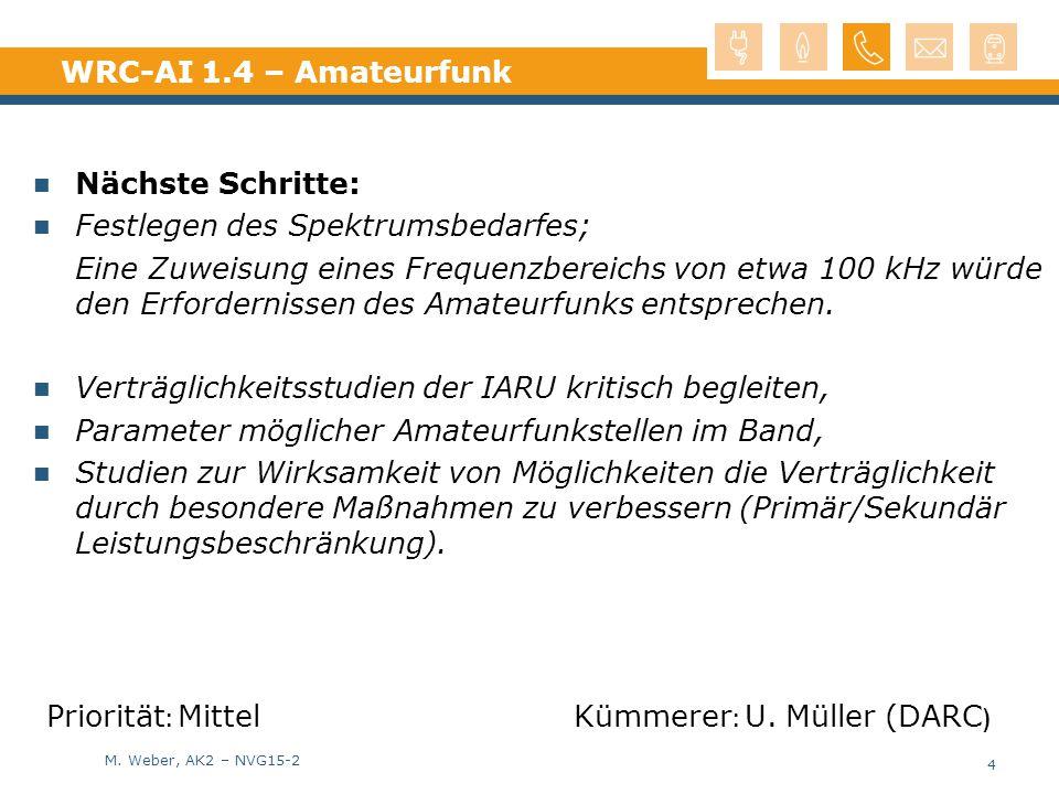 M. Weber, AK2 – NVG15-2 WRC-AI 1.4 – Amateurfunk Nächste Schritte: Festlegen des Spektrumsbedarfes; Eine Zuweisung eines Frequenzbereichs von etwa 100