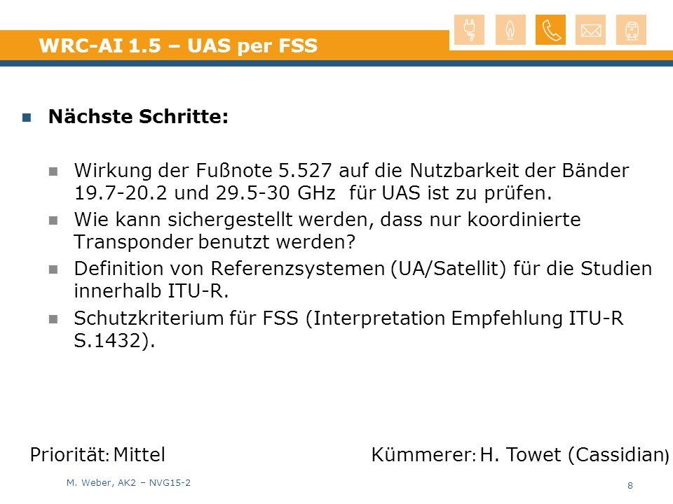 M. Weber, AK2 – NVG15-2 WRC-AI 1.5 – UAS per FSS Nächste Schritte: Wirkung der Fußnote 5.527 auf die Nutzbarkeit der Bänder 19.7-20.2 und 29.5-30 GHz
