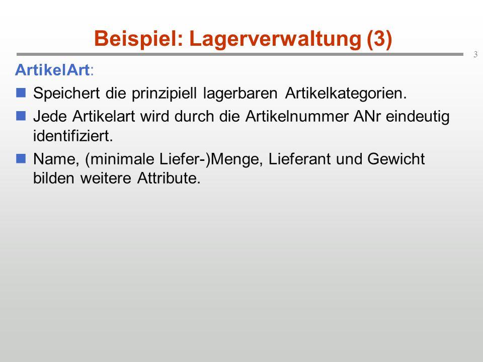 3 Beispiel: Lagerverwaltung (3) ArtikelArt: Speichert die prinzipiell lagerbaren Artikelkategorien.