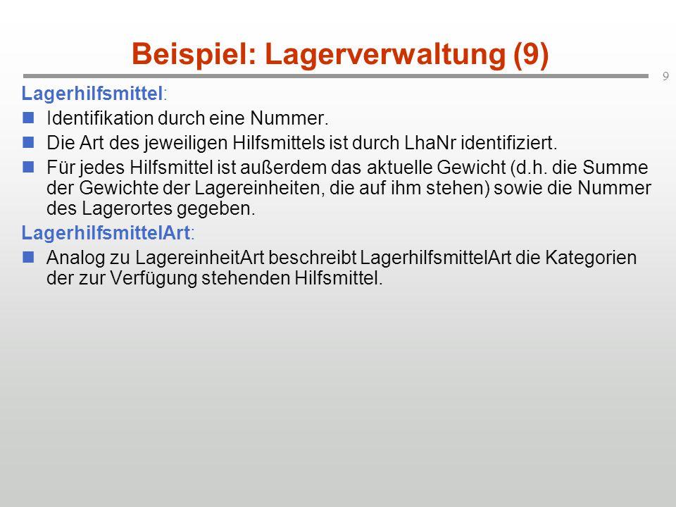 9 Beispiel: Lagerverwaltung (9) Lagerhilfsmittel: Identifikation durch eine Nummer.