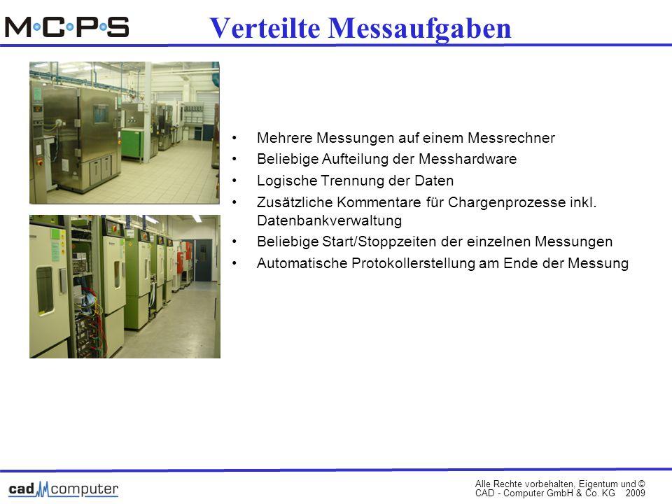 Alle Rechte vorbehalten, Eigentum und © CAD - Computer GmbH & Co. KG 2009 Verteilte Messaufgaben Mehrere Messungen auf einem Messrechner Beliebige Auf