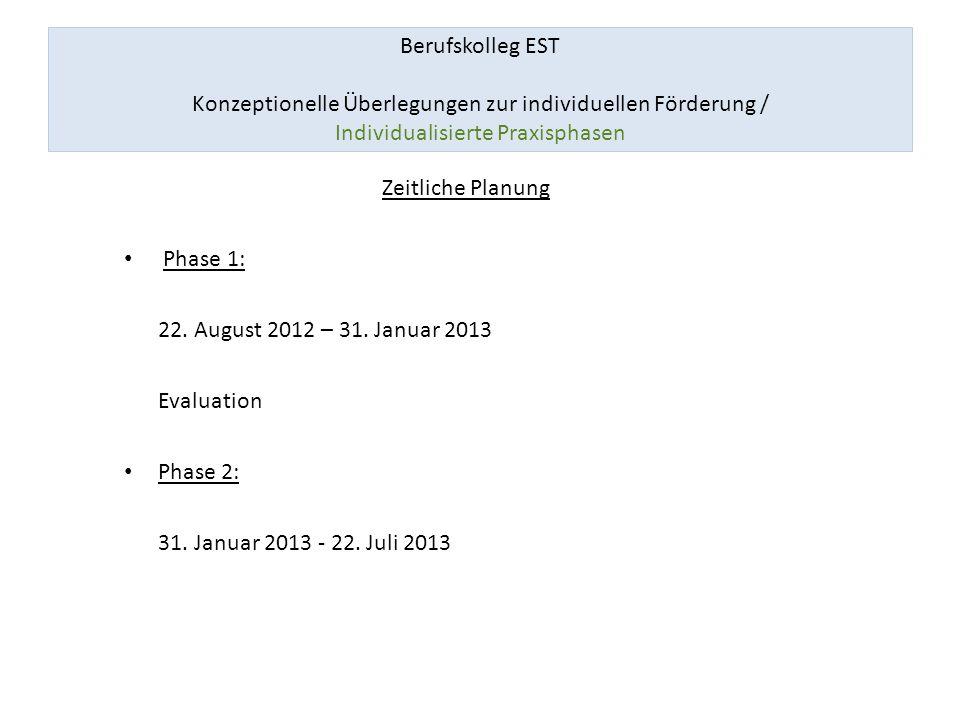Berufskolleg EST Konzeptionelle Überlegungen zur individuellen Förderung / Individualisierte Praxisphasen Zeitliche Planung Phase 1: 22. August 2012 –