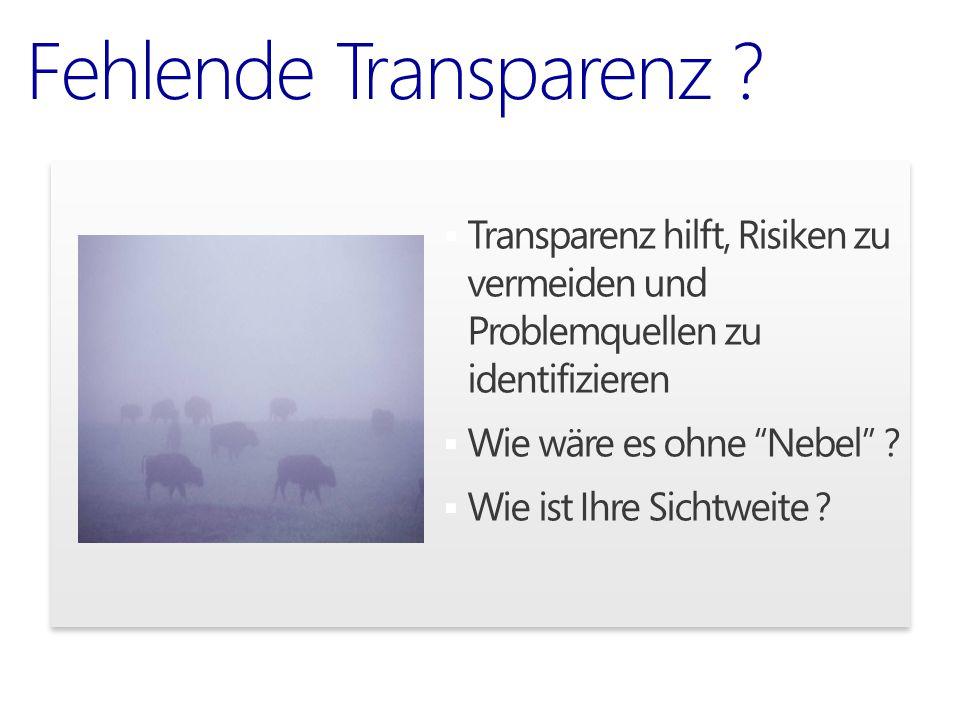""" Transparenz hilft, Risiken zu vermeiden und Problemquellen zu identifizieren  Wie wäre es ohne """"Nebel"""" ?  Wie ist Ihre Sichtweite ? Fehlende Trans"""