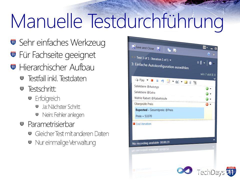 Manuelle Testdurchführung Sehr einfaches Werkzeug Für Fachseite geeignet Hierarchischer Aufbau Testfall inkl. Testdaten Testschritt: Erfolgreich Ja: N