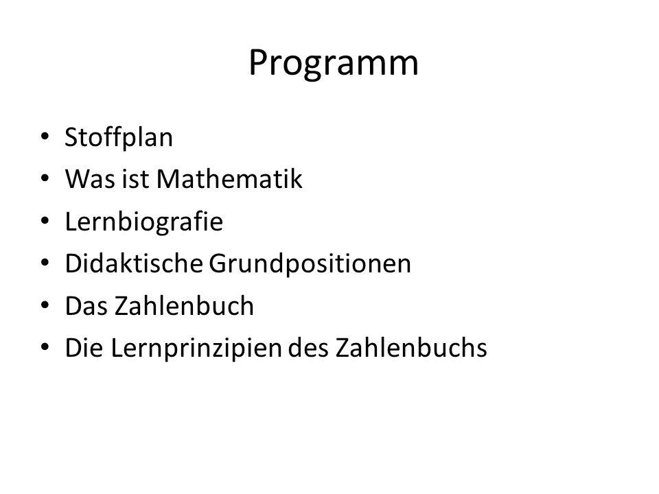 Programm Stoffplan Was ist Mathematik Lernbiografie Didaktische Grundpositionen Das Zahlenbuch Die Lernprinzipien des Zahlenbuchs