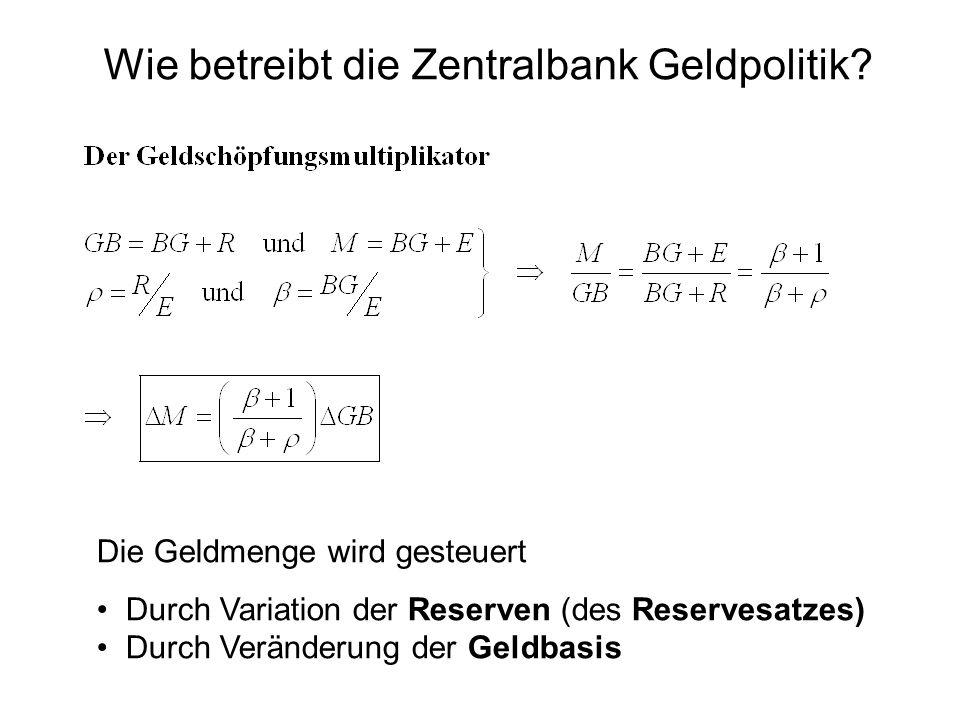 Wie betreibt die Zentralbank Geldpolitik? Die Geldmenge wird gesteuert Durch Variation der Reserven (des Reservesatzes) Durch Veränderung der Geldbasi