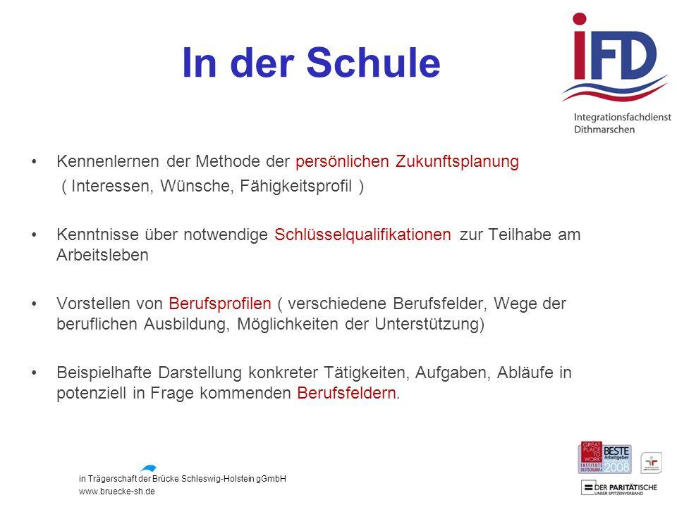 in Trägerschaft der Brücke Schleswig-Holstein gGmbH www.bruecke-sh.de In der Schule Kennenlernen der Methode der persönlichen Zukunftsplanung ( Intere
