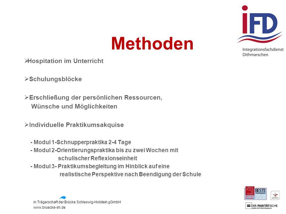 in Trägerschaft der Brücke Schleswig-Holstein gGmbH www.bruecke-sh.de Methoden  Hospitation im Unterricht  Schulungsblöcke  Erschließung der persön