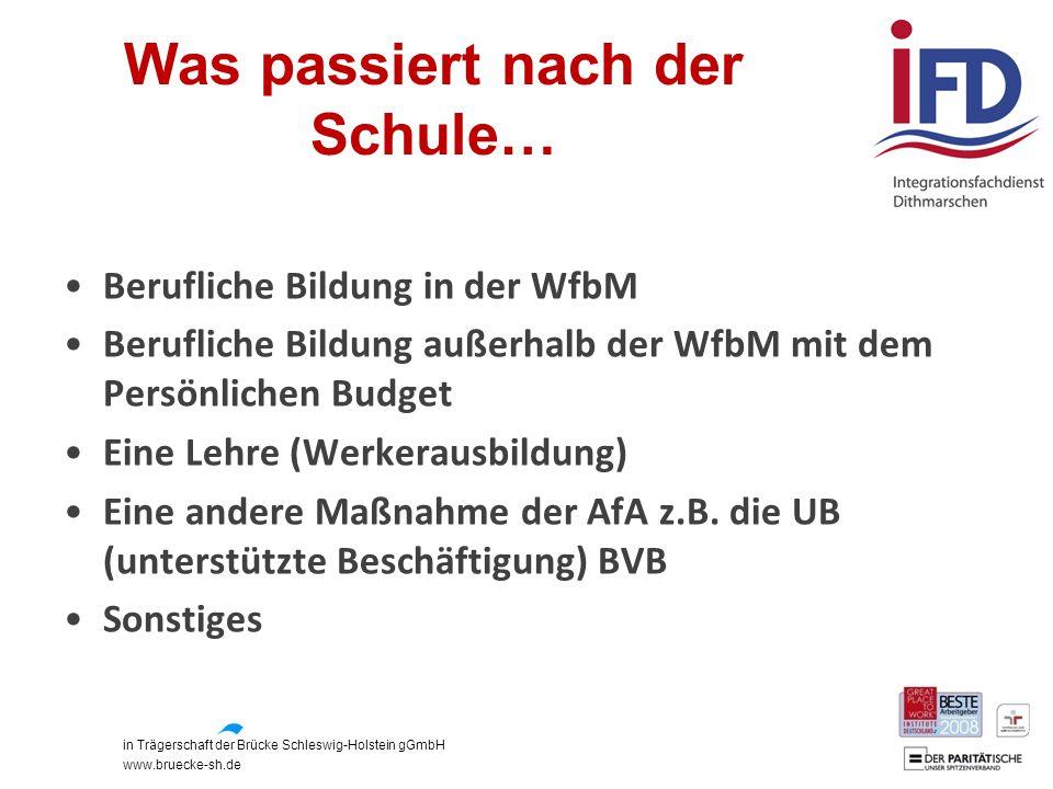 in Trägerschaft der Brücke Schleswig-Holstein gGmbH www.bruecke-sh.de Was passiert nach der Schule… Berufliche Bildung in der WfbM Berufliche Bildung
