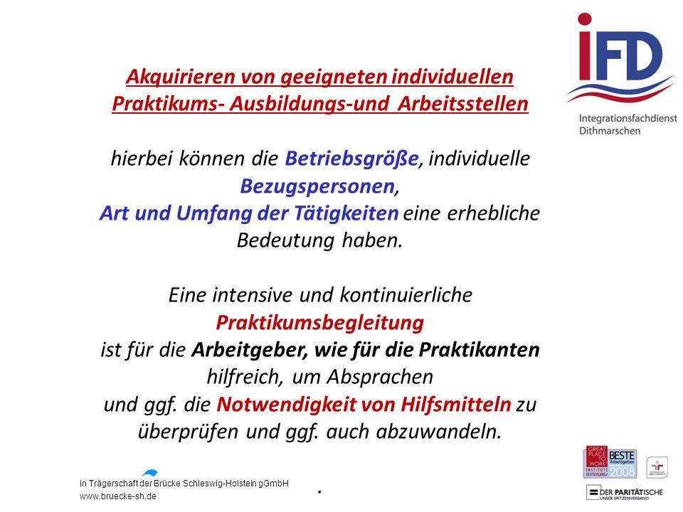 in Trägerschaft der Brücke Schleswig-Holstein gGmbH www.bruecke-sh.de Akquirieren von geeigneten individuellen Praktikums- Ausbildungs-und Arbeitsstel