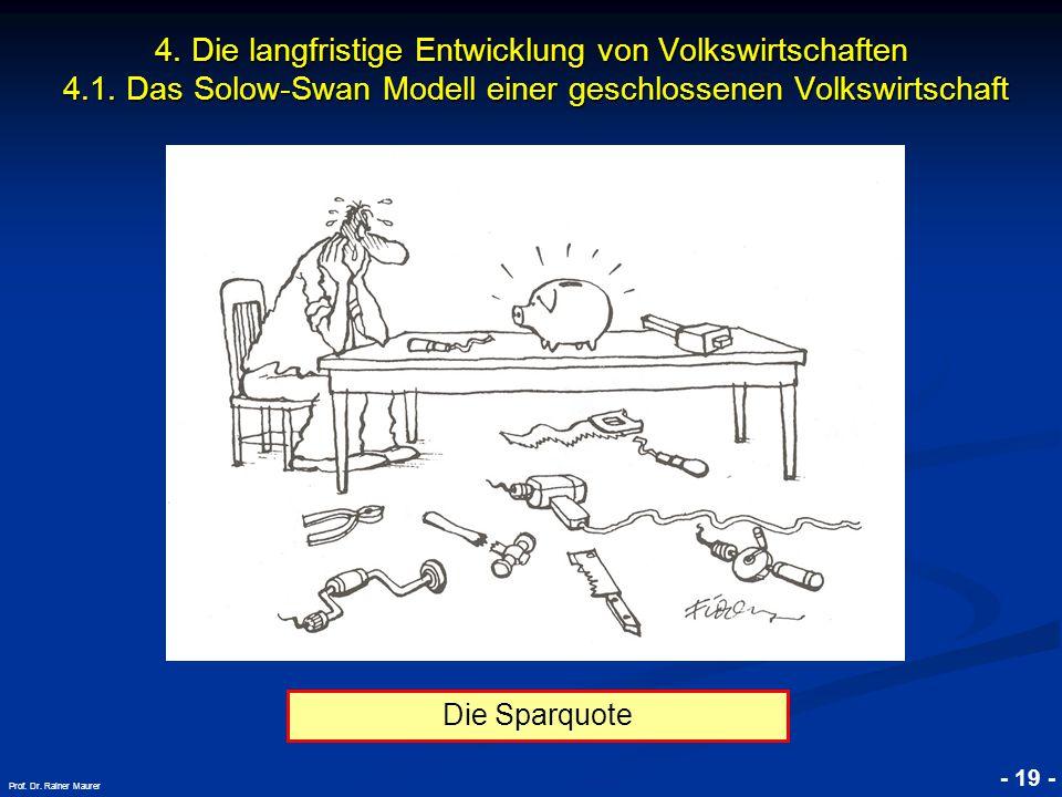 © RAINER MAURER, Pforzheim - 19 - Prof. Dr. Rainer Maurer 4. Die langfristige Entwicklung von Volkswirtschaften 4.1. Das Solow-Swan Modell einer gesch