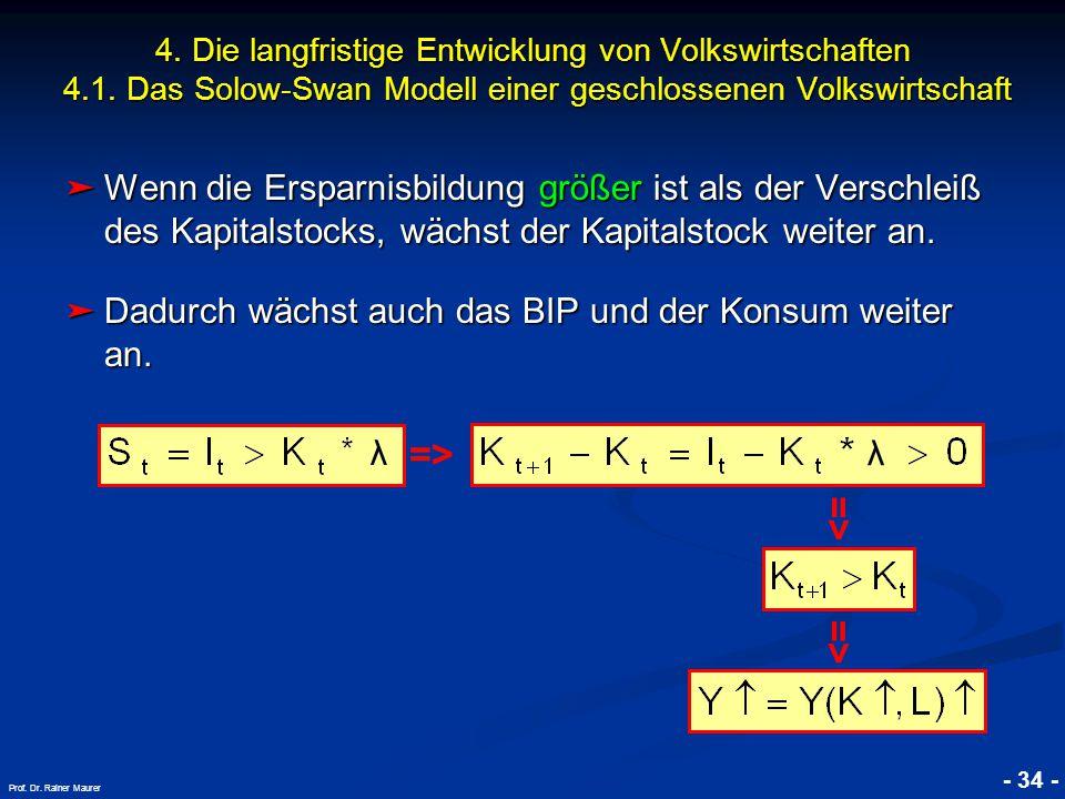 © RAINER MAURER, Pforzheim - 34 - Prof. Dr. Rainer Maurer ➤ Wenn die Ersparnisbildung größer ist als der Verschleiß des Kapitalstocks, wächst der Kapi