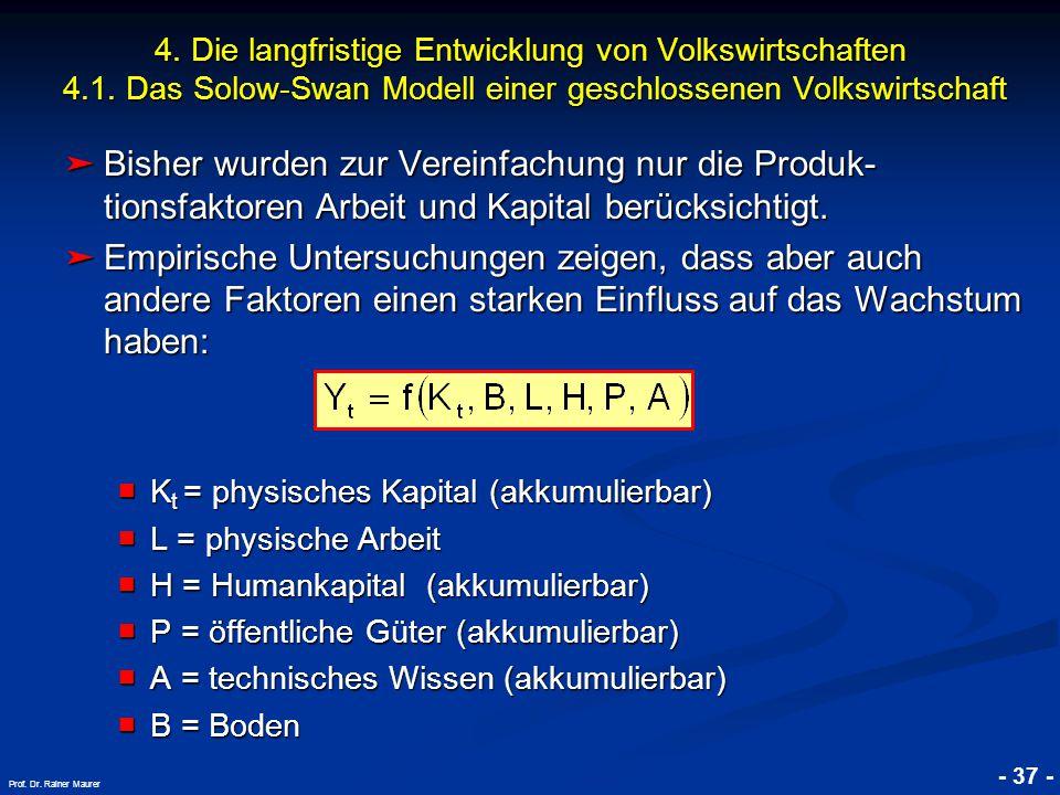 © RAINER MAURER, Pforzheim - 37 - Prof. Dr. Rainer Maurer ➤ Bisher wurden zur Vereinfachung nur die Produk- tionsfaktoren Arbeit und Kapital berücksic